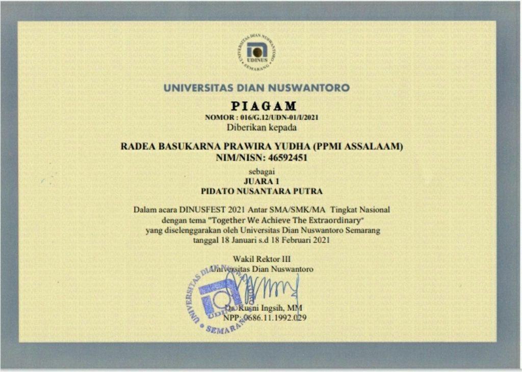 Santri Pesantren Assalaam Juara 1 Lomba Pidato Nusantara