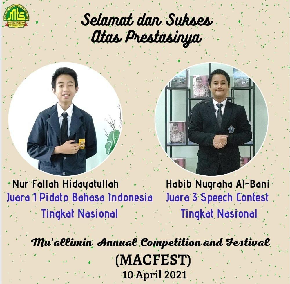 Santri MTs Pondok Pesantren Modern Islam Assalaam Kembali Raih Juara MACFEST 2021