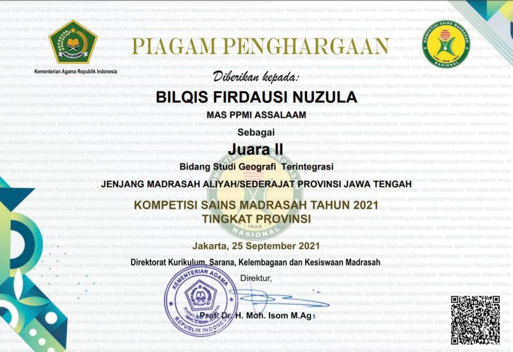 Santri MA Assalaam Raih Tiga Gelar di KSM Tingkat Provinsi 2021